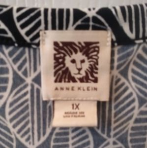 Anne Klein Navy Blue and White Blouse
